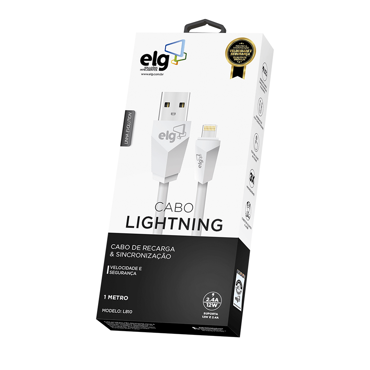 Picture of CABO USB LIGHTNING ELG IPHONE L810 BRANCO 1m